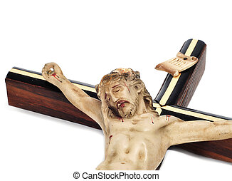 Jesus Christ in the holy cross - a figure of Jesus Christ in...