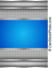 Background template, metallic texture, blue blank Vector...
