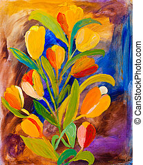 Tulips painting by Kay Gale - Tulips painting in acrylic by...