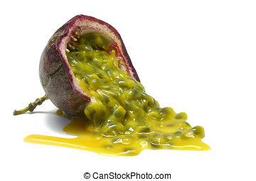 Half Passion Fruit - Passion fruit half with pulp spilling,...