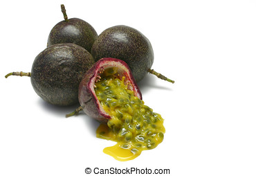 Passion Fruits - Passion fruits with pulp spilling, isolated...
