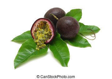 Passion Fruit - Passion fruits with leaves and pulp spilling...