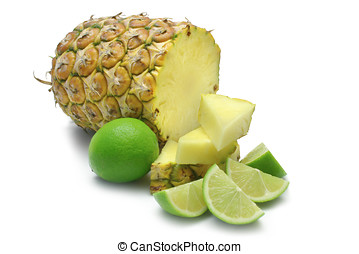 Pine Lime - Pineapple, with chunks and lime wedges, isolated...