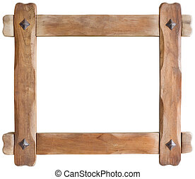 Wooden Frame - Old Wooden Picture Frame Cutout with clipping...