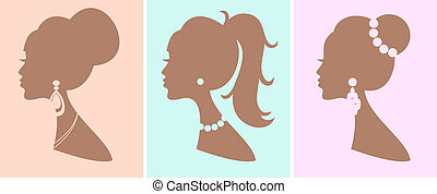 Elegant Female Hairstyles - A set of three romantic female...
