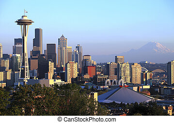 Seattle skyline, Washington state - The Seattle skyline at...
