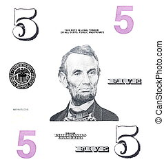 set detail 5 $ dollars, with Lincoln, isolated on white...