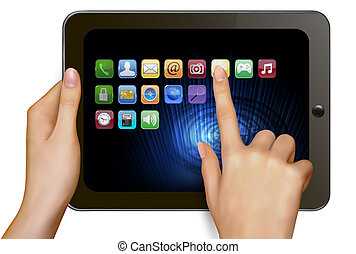 Hands holding digital tablet computer with icons Vector...