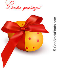 Easter background Easter egg with red gift bow Vector...