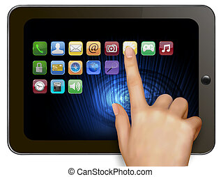 Hand holding digital tablet computer with icons Vector...