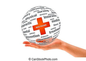 Health Care - Hand holding a Health Care 3D sphere.