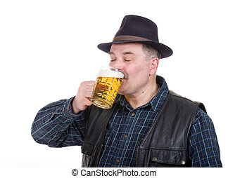 Elderly man holding a beer belly