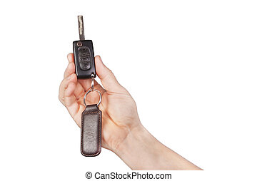 The control of the car on a white background.