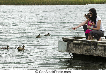 Ducks on a Lake - A mother and girl play with ducks on the...