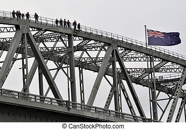 Auckland City Harbour Bridge - People walking on Auckland...