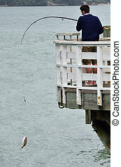 Sea Sport - Fishing - A young man catches a fish from a dock...