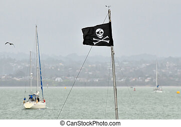 Pirate Flag - Jolly Roger - Flag of a pirate skull and...