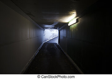 Light at End of Tunnel - Empty dark tunnel
