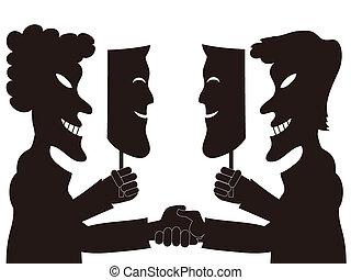 fake mask - two hypocrite businessmen holding fake masks...