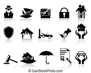 insurance icons set - isolated insurance icons set on white...