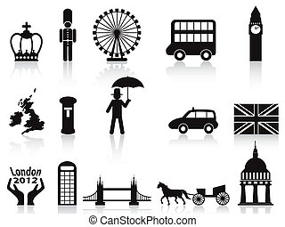 london icons set - isolated london icons set on white...