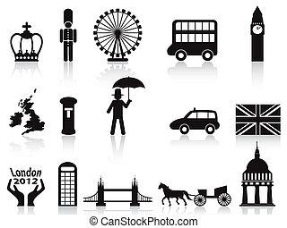 london icons set - isolated london icons set on white...