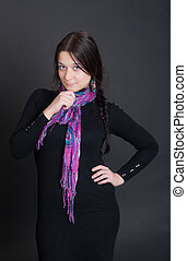 treacherous glance - the girl in a bright scarf on a black...