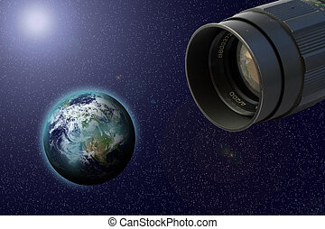 objective and earth - objective in cosmos make shot of earth
