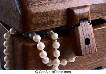 casket with pearl beads - wooden hand-made casket with white...