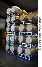 New Wine Barrels - A stack of new wine barrels awaiting...