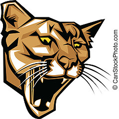 Cougar Panther Mascot Head Vector - Graphic Vector Mascot...
