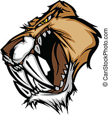 Cougar Saber Tooth Cat Mascot Head - Graphic Vector Mascot...