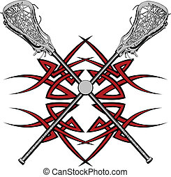 Lacrosse Sticks Graphic Vector - Lacrosse Sticks and Ball...