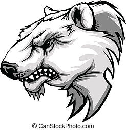 Polar Bear Mascot Head Vector Carto - Cartoon Vector Mascot...