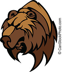 Bear Grizzly Mascot Head Vector - Cartoon Vector Mascot...