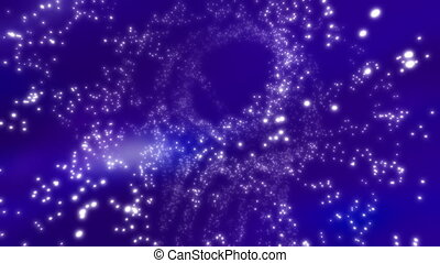 Cosmic Blue Particle Vortex Looping Animated Background