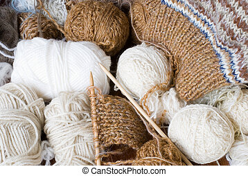 Knitting yarn and knit - Many knitting yarns and the middle...