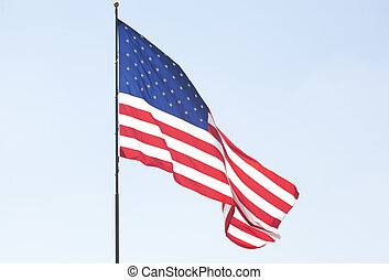 The American Flag flying over