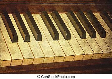 gammal,  Piano, fläckat,  grunge, musik