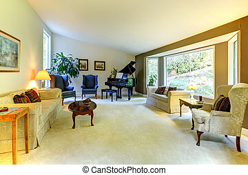 Large living room wit piano and window - Living room with...