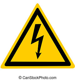 High voltage - Yellow sign with high voltage icon