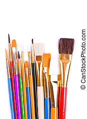 Diverse colorful paint brushes