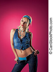 Cute sexy girl undress jeans - pin-up style - Cute sexy girl...