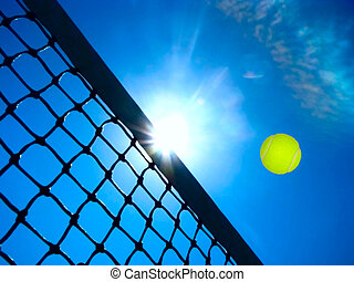 Tennis game concept with ball