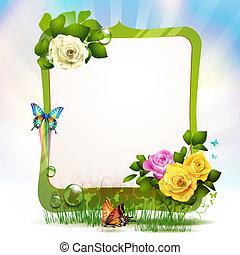 Mirror frame with roses