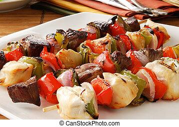 Platter of shish kebabs