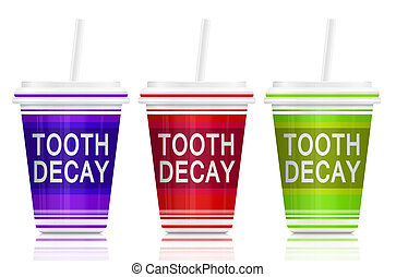 Tooth decay concept. - Illustration depicting three fast...