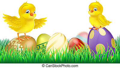 Cute yellow chicks on Easter eggs - Two cute happy little...