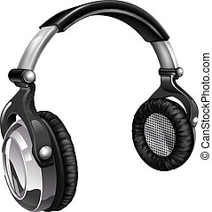 Big cool music headphones - Illustration of a pair of audio...