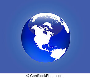 Globe America - Detailed map of the western hemisphere of...